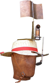 The Circumspective Periscope mounted on a straw hat